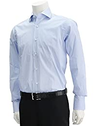 (バルバ) BARBA BRUNO ホワイト&サックスブルーストライプ 長袖ドレスシャツ ホワイト系 [並行輸入品]