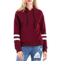 Womens Long Sleeve Simple Style Hoodie Sweatshirt Jumper Casual Girl Drawstring Hooded Pullover Stripes Tunic Tops Fashion Baseball Hoody Blouse Tee Shirt - Letsenvy