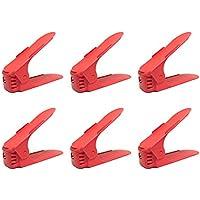 靴収納ホルダー 高さ調節機能付き 6個入 (あか(赤))