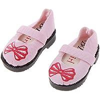 【ノーブランド品】3色選べ プラスチック製 1/6 BJD SD BB 女の子 人形用 赤 ちょう結び ストラップのシューズ  カジュアル ファッション 飾り 贈り物 - ピンク