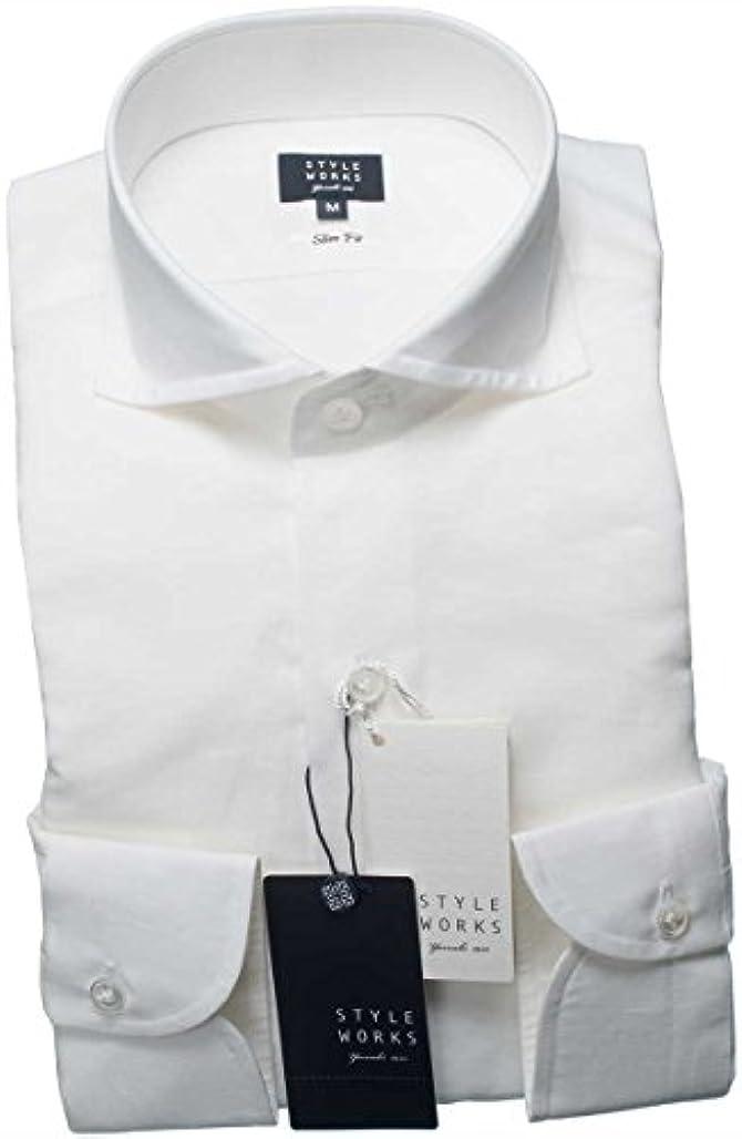 責任外側奨励RSD649-001-0106-LL (スタイルワークス) メンズ長袖ワイシャツ 白カッタウェイ ワイドカラー   白/LL