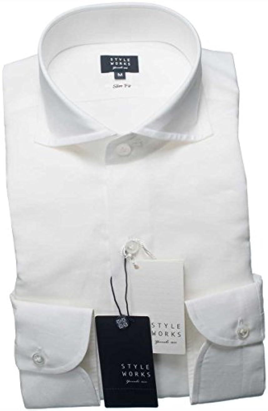 使用法怠感あいにくRSD649-001-0105-L (スタイルワークス) メンズ長袖ワイシャツ 白カッタウェイ ワイドカラー | 白/L