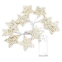 LEDストリングライト,Haofy 白い籐 寝室、庭、パティオ、パーティーのための10の屋外&屋内装飾ライトを照らす(星)