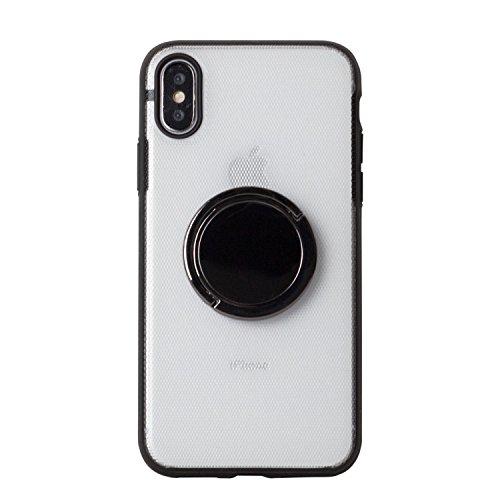 BEGALO iPhoneX ハンドスピナー 指スピナー バンカーリング付 ケース 落下防止 360度回転 スタンド ストレス解消 クリア HDSP-IPX-CLR188