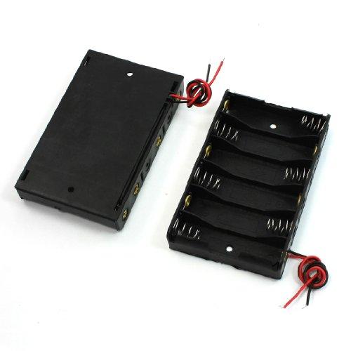 uxcell バッテリーケース 1.5VAA電池6本用 15cm 9.3 x 5.7 x 1.5cm 2個入り