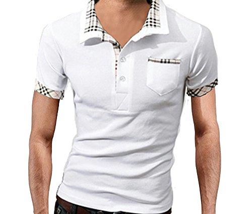 【 スマイズ スマイル 】 Smaids×Smile メンズ 半袖 ポロシャツ おしゃれ 重ね着 柄 ゴルフ 襟 (ホワイト M)