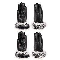 PUレザー手袋レディース秋と冬の暖かいベルベット厚手のコットン手袋日常用 (色 : 黒, UnitCount : 2 pairs)