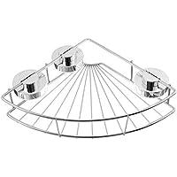 コーナーシャワーシェルフキャディオーガナイザーラック、ステンレススチール製真空サクションカップ、バスルームキッチン用ラック