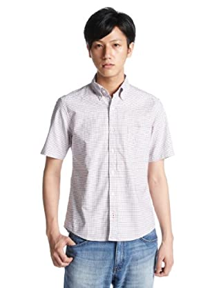 Short Sleeve Tattersall Buttondown Shirt 3216-299-0311: Red