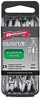 Arrow Fastener RSAW1/8 Short Aluminum White 1/8-Inch Rivets, 25-Count [並行輸入品]