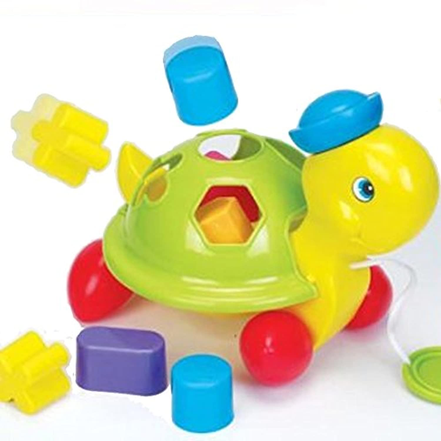 Funtime Turtle Shape Sorter Pull Along Learn and Playベビーおもちゃ12 +ヶ月