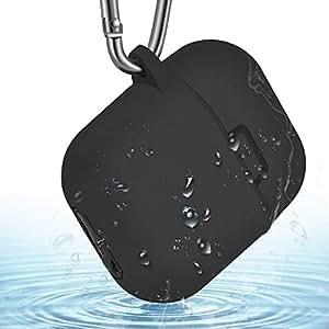 AirPods専用防水カバー 収納ケース 防塵 IP68防水 耐衝撃 キズ防止 滑り止め 携帯便利 カラビナ付き(ブラック)