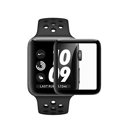 Icheckey Apple Watchフィルム42mm 38mmに対応 Apple Watch Series2/Series1フィルム 高透過率ガラス フィルム 3D曲面保護シート フルカバー液晶保護ガラスフィルム 日本製素材0.26mm 硬度9H全面カバー 耐指紋 3Dラウンドエッジ加工