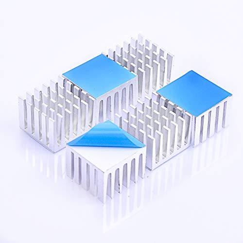 熱伝導性両面テープ付き 熱暴走対策 20mm X 21mm X 15mm 6個入り 冷却フィン アルミニウム製 放熱板 M2.SSD ファイア テレビ DIYキット ICチップ MOSFET 回路基板 ハイパワーLEDアンプに適用