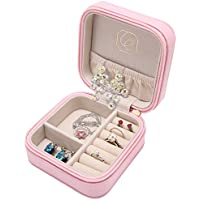 LELADY Small Jewellery Box Mini Travel Jewellery Boxes Case Portable Faux Leather Jewellery Storage Box Organiser for Women Girls (Pink)