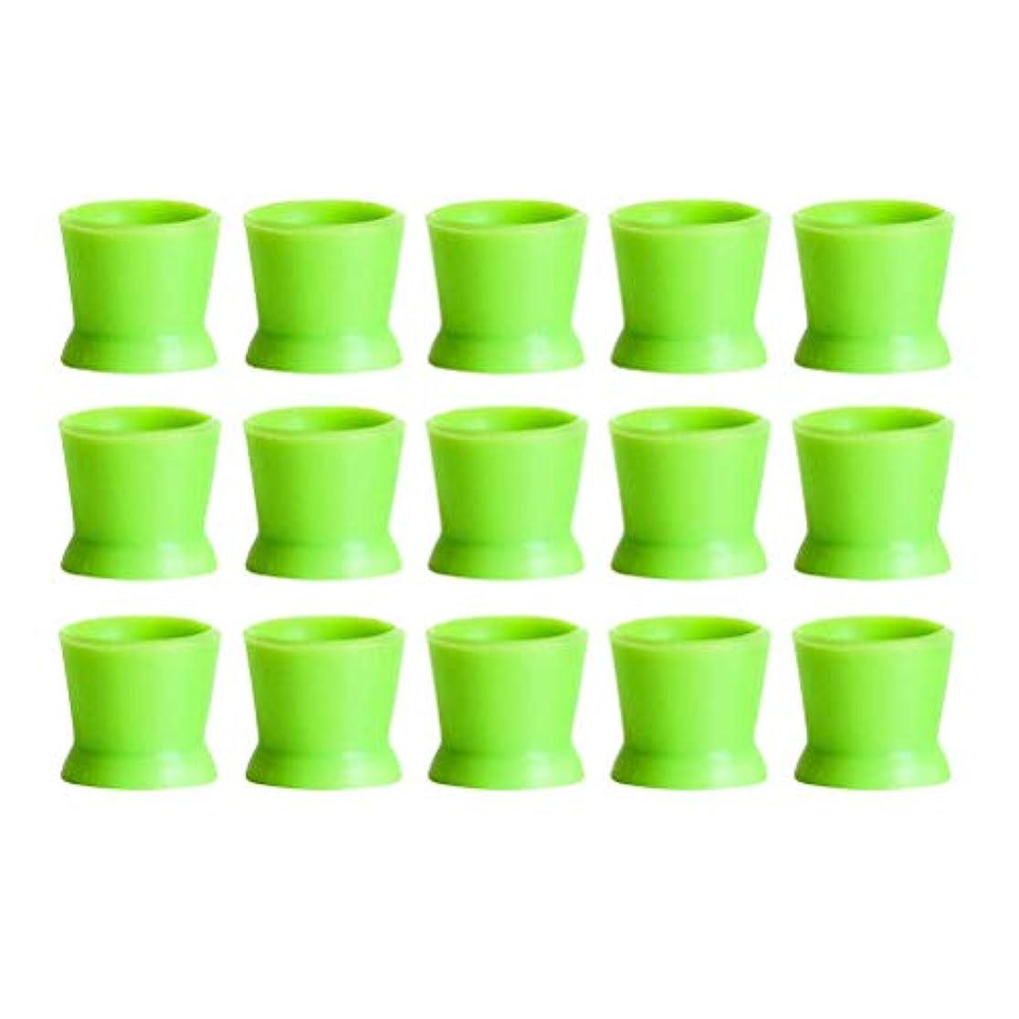 一瞬しわ恐ろしいHealifty 300PCSシリコンタトゥーインクカップ使い捨てマイクロブレーディングピグメントキャップホルダーコンテナ永久的なまつげメイクアップアイブロー(グリーン)