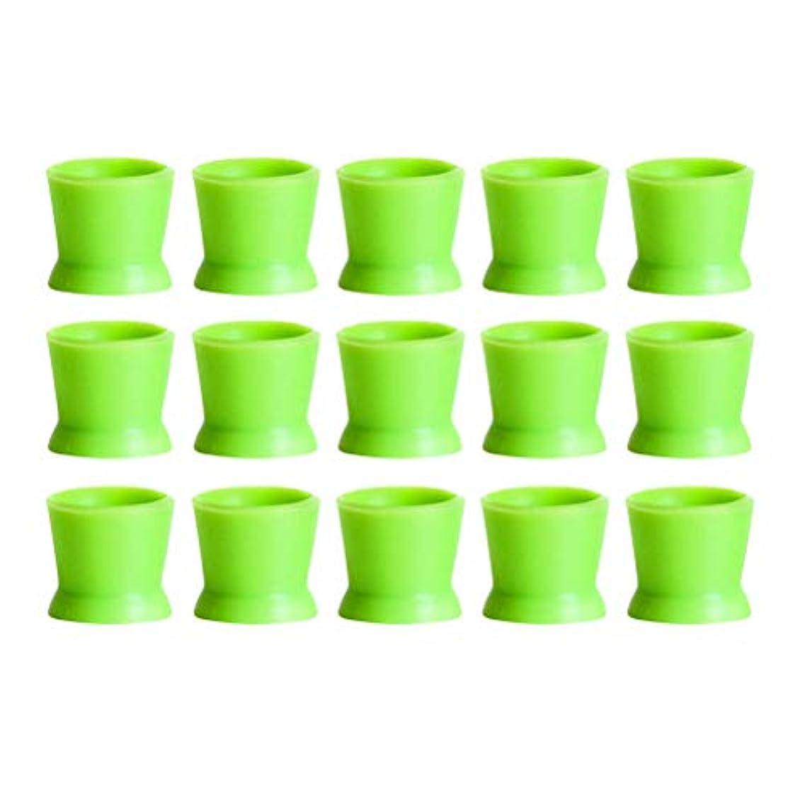 人気の煙テクスチャーHealifty 300PCSシリコンタトゥーインクカップ使い捨てマイクロブレーディングピグメントキャップホルダーコンテナ永久的なまつげメイクアップアイブロー(グリーン)