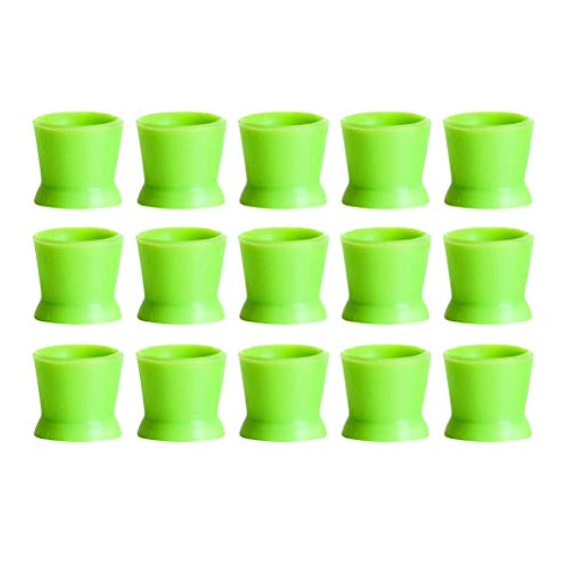 サリー命令カビHealifty 300PCSシリコンタトゥーインクカップ使い捨てマイクロブレーディングピグメントキャップホルダーコンテナ永久的なまつげメイクアップアイブロー(グリーン)