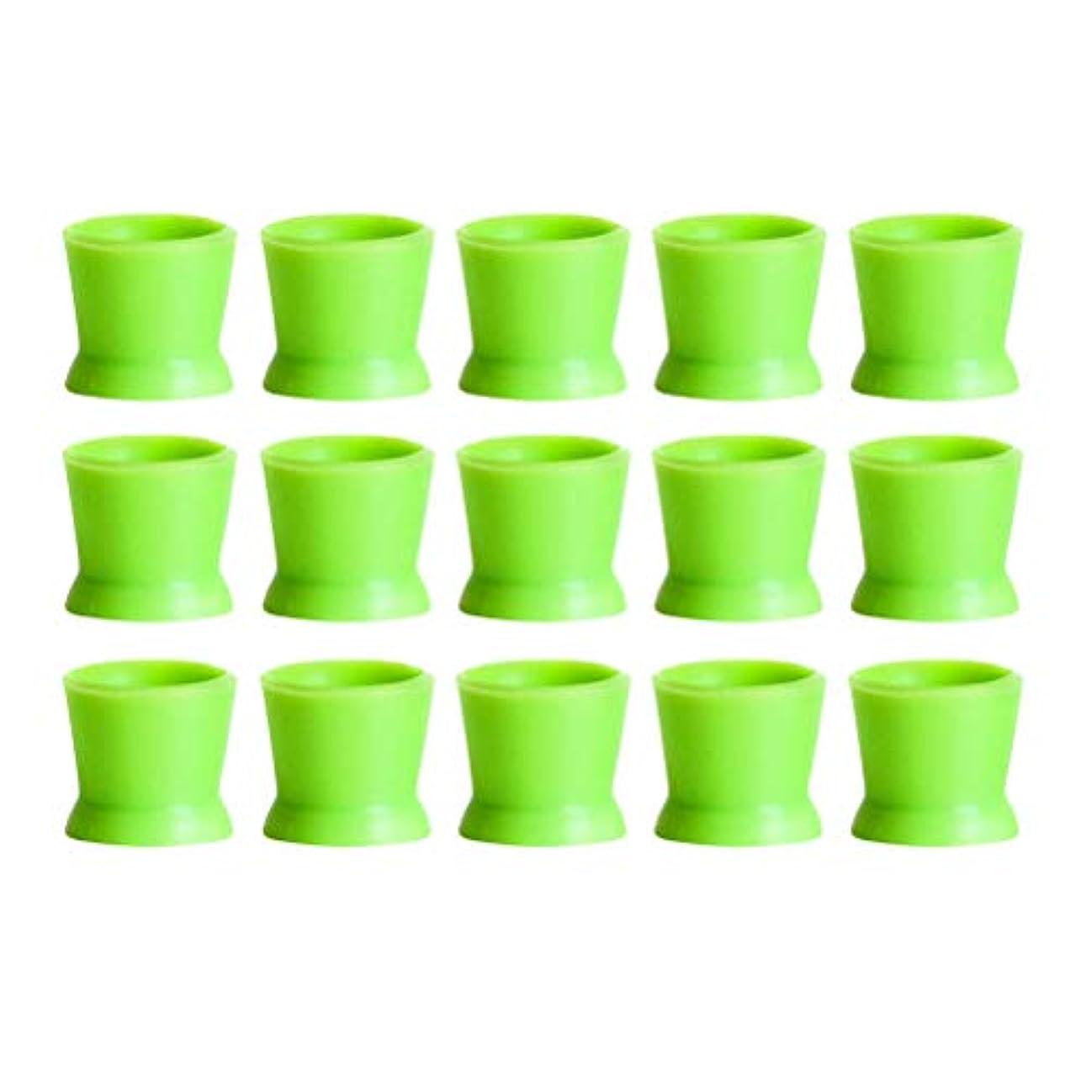 ジャンプ発行秘書Healifty 300PCSシリコンタトゥーインクカップ使い捨てマイクロブレーディングピグメントキャップホルダーコンテナ永久的なまつげメイクアップアイブロー(グリーン)