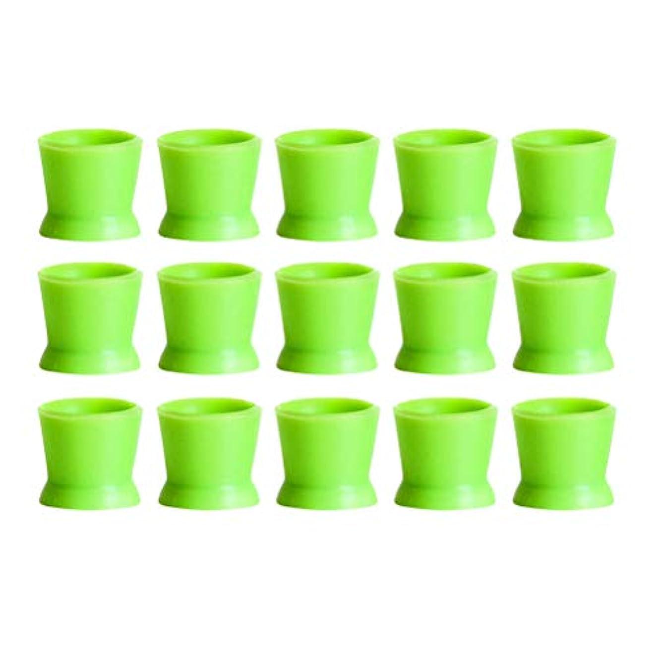符号スパイラル自然Healifty 300PCSシリコンタトゥーインクカップ使い捨てマイクロブレーディングピグメントキャップホルダーコンテナ永久的なまつげメイクアップアイブロー(グリーン)