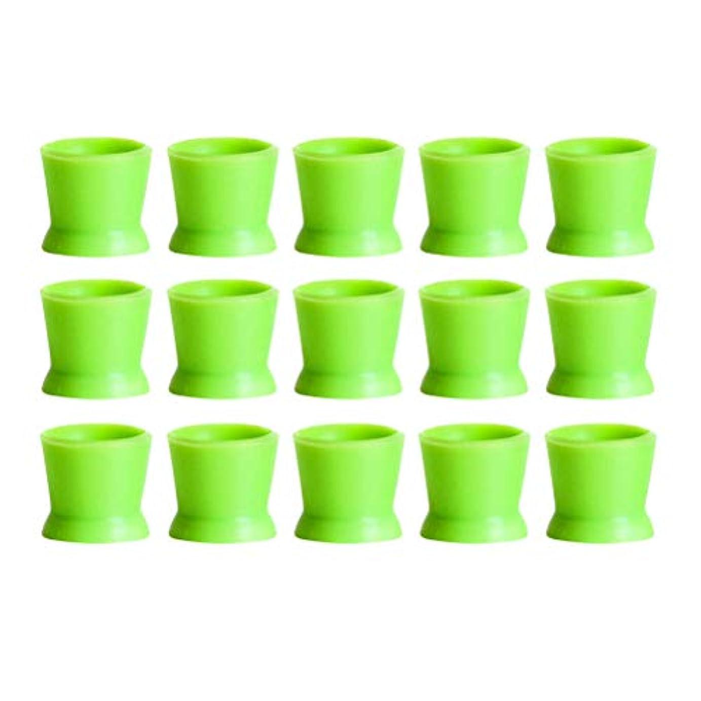 インゲン著作権王室Healifty 300PCSシリコンタトゥーインクカップ使い捨てマイクロブレーディングピグメントキャップホルダーコンテナ永久的なまつげメイクアップアイブロー(グリーン)
