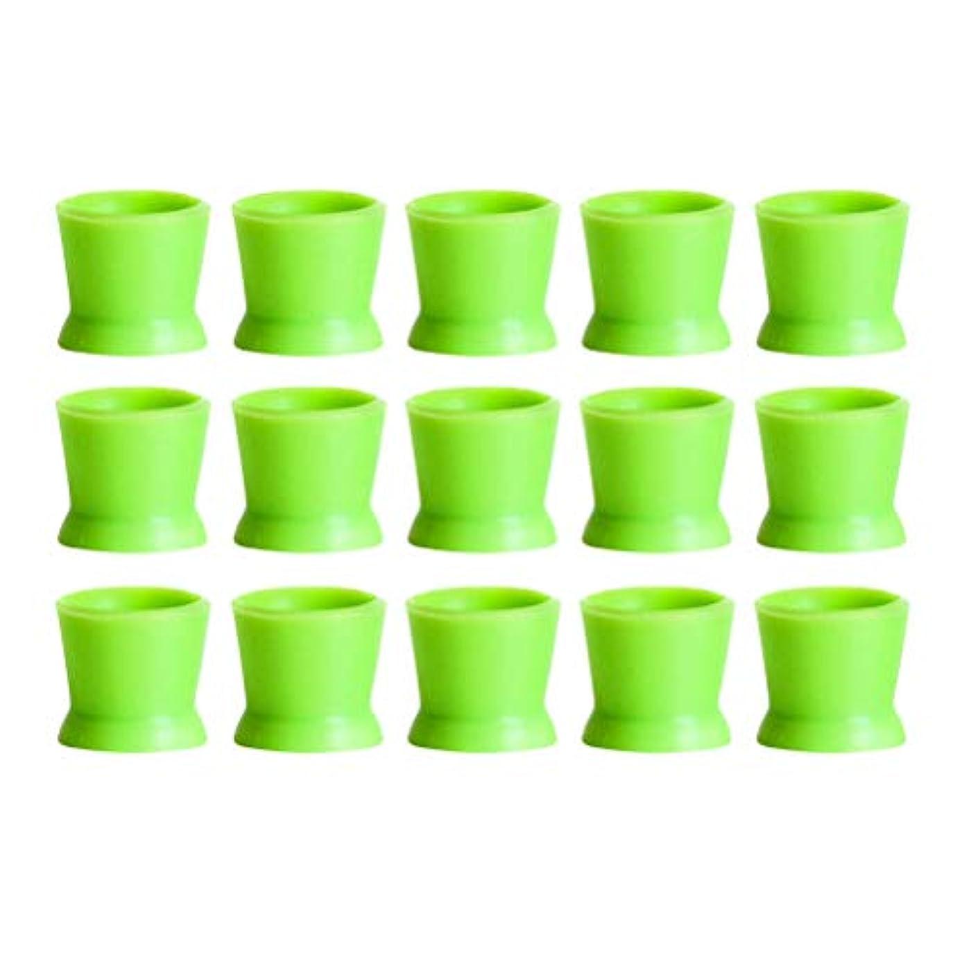 人気首相継続中Healifty 300PCSシリコンタトゥーインクカップ使い捨てマイクロブレーディングピグメントキャップホルダーコンテナ永久的なまつげメイクアップアイブロー(グリーン)