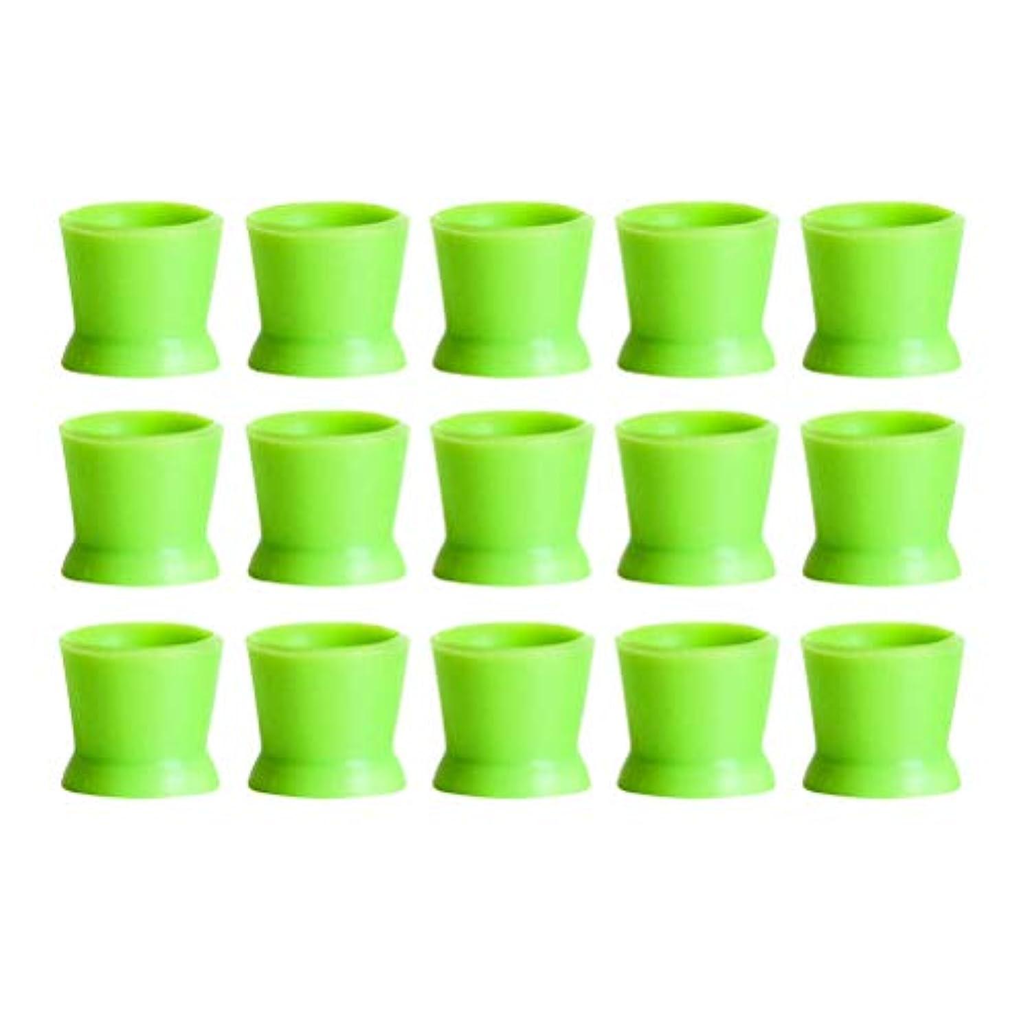 絡み合い驚いた構成するHealifty 300PCSシリコンタトゥーインクカップ使い捨てマイクロブレーディングピグメントキャップホルダーコンテナ永久的なまつげメイクアップアイブロー(グリーン)