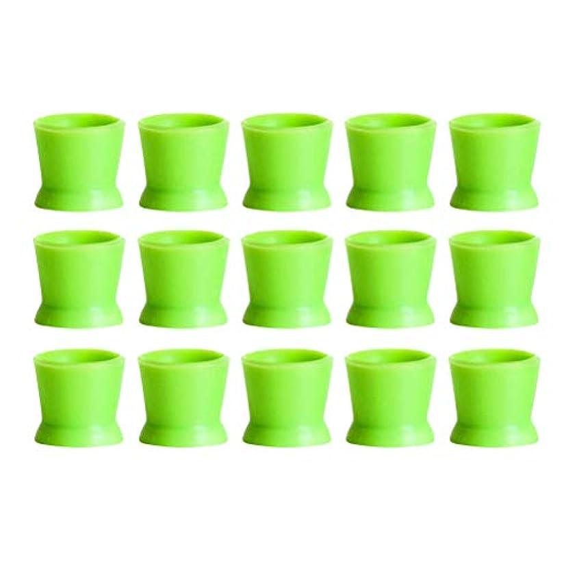 給料可能性空のHealifty 300PCSシリコンタトゥーインクカップ使い捨てマイクロブレーディングピグメントキャップホルダーコンテナ永久的なまつげメイクアップアイブロー(グリーン)