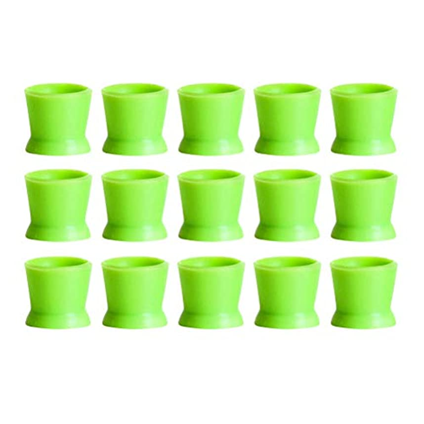 Healifty 300PCSシリコンタトゥーインクカップ使い捨てマイクロブレーディングピグメントキャップホルダーコンテナ永久的なまつげメイクアップアイブロー(グリーン)