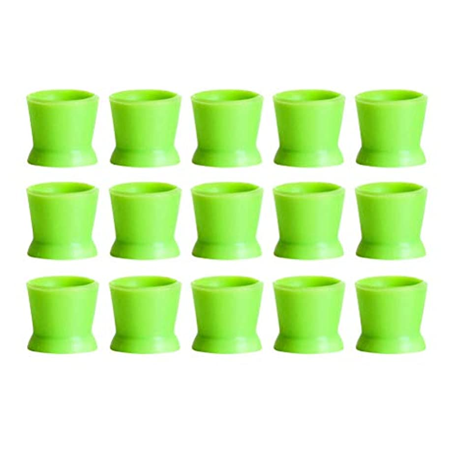 テザーシティ甘美なHealifty 300PCSシリコンタトゥーインクカップ使い捨てマイクロブレーディングピグメントキャップホルダーコンテナ永久的なまつげメイクアップアイブロー(グリーン)