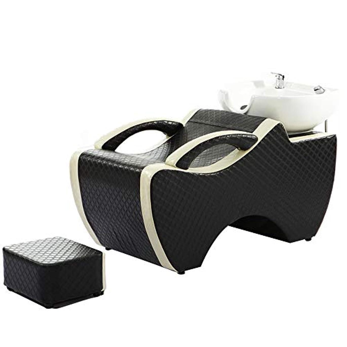 シンポジウムカリング無実シャンプー椅子、逆洗ユニットシャンプーボウル理髪シンク椅子用スパ美容院ベッドセラミック洗面台
