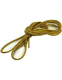 [クツヒモドットコム] 靴ひも.com ワークブーツ用靴紐・黄×茶(約4mm) 80cm