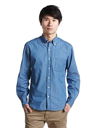 Light Ounce Indigo Denim Buttondown Shirt 3211-149-1083: Light Blue
