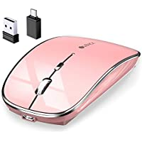 マウス BLENCK ワイヤレスマウス 充電式 小型 静音 省エネルギー 2.4GHz 3DPIモード 光学式 高感度 Mac/Windows/surface/Microsoft Proに対応 TELEC認証取得済み (ローズゴールド)