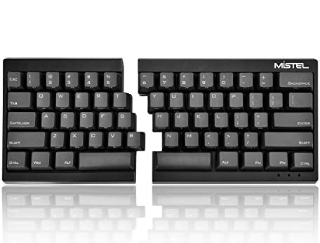 MiSTEL BAROCCO MD600分離式 メカニカルキーボード 英語配列 62キー CHERRY 茶軸 PBTキーキャップ ブラック MD600-BUSPLGAA1
