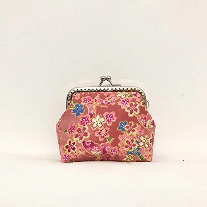 Pink&Brown 口金バッグ がま口 和柄財布 小銭入れ カード入れ 化粧品収納 レディス 可愛い 和物 桜