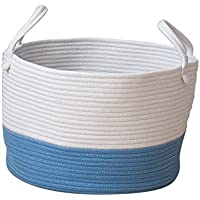Perfk 収納かご 雑貨 オーガナイザー ハンドル付き ランドリーバスケット 全3色2サイズ   - ブルー, S