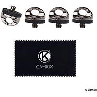 首や手首のストラップに取り付けるクイックインストール・カメラ三脚マウントスクリュー - 4 パック – すばやく安全な接続 - 頑丈なメタル - 標準カメラ三脚接続部にフィット- 簡単なツイストグリップ- ゴム製バッファー