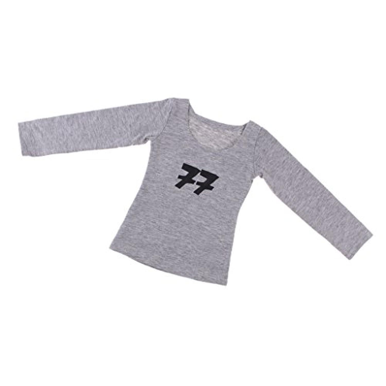 SONONIA 70cm 1/3スケール男性BJDドール用 カジュアル 長袖 花Tシャツ トップ 3色 - グレー