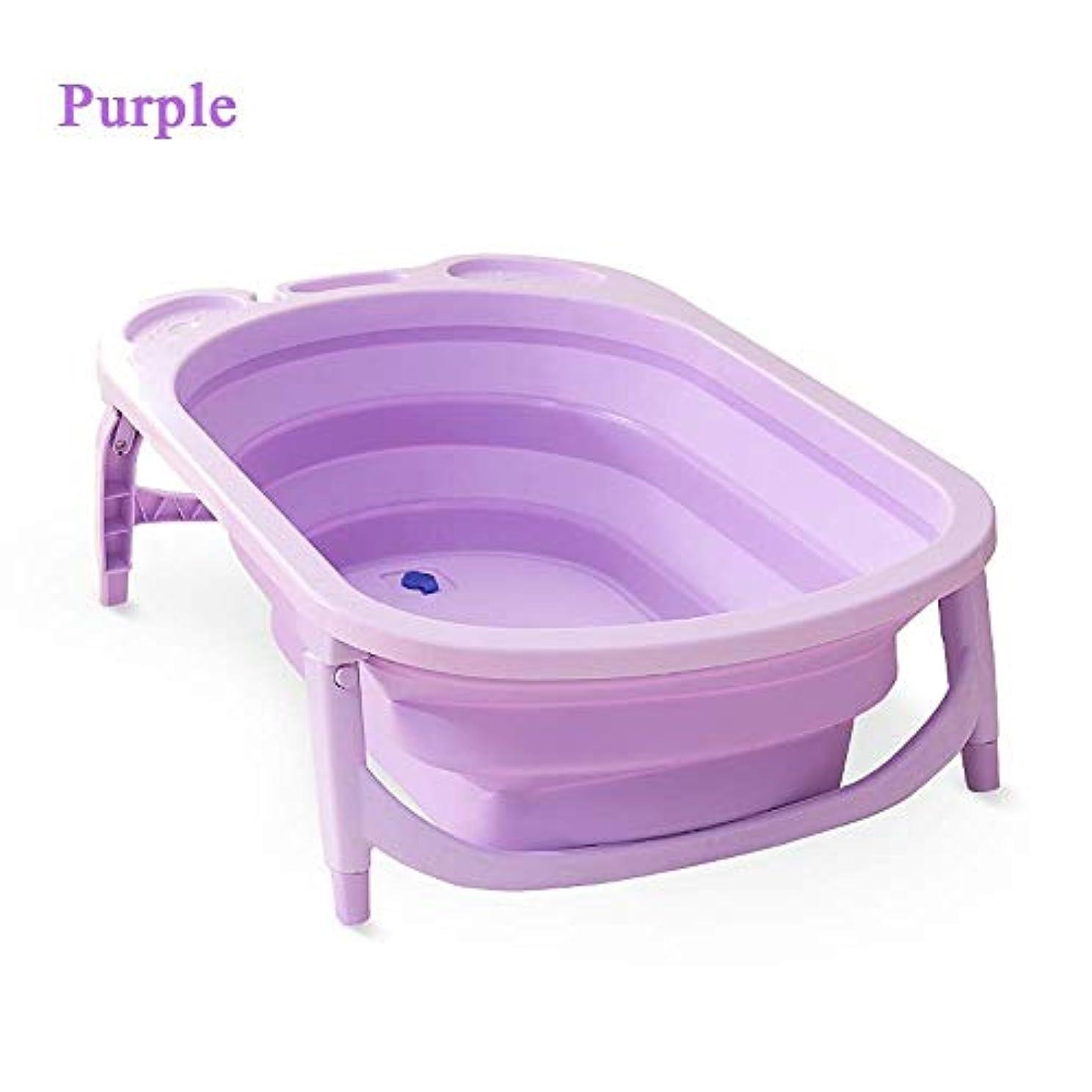 発表する部分的に中級折りたたみ浴槽、滑り止めポータブル折りたたみ式ベビーバス浴槽シャワーの洗面台折りたたみ式バスタブベビーシャワーの洗面台(温度検知付き)0?6歳の子供用 (Color : Purple)