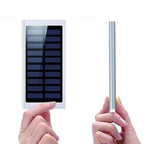 大容量 超薄型 ソーラー モバイルバッテリー ( 20000mah 2ポート iphone スマホ 2台 同時 充電 可能 ) LED 搭載 充電器 ( CamelCharger ) (テンパメント・シルバー)