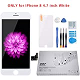 for iPhone 8 Screen Replacement White 4.7 inch, LCD Display Touch Screen Digitizer Frame Assembly Full Set with Screen Protector and Free Repair Tool Kits for iPhone 8 LCD Screen White