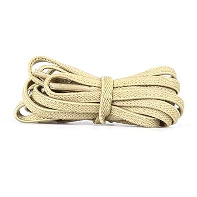 (GGT Tiger) ゴム素材靴ひも / 外は布材質、中はゴム材質で伸びる靴ひも/ 靴の脱ぎ履きが便利!/靴紐 (アイボリー、平ひも120cm)