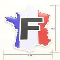 D-Field(D・フィールド) フランス 自動車 レース スポッツ 調 国旗 地図 3D メタル プレートステッカー フラッグ ステッカー エンブレム 1個