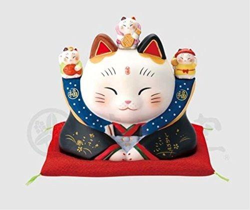 縁起物の置物 ネコ 彩絵 七福神福助 招き猫 4.0号