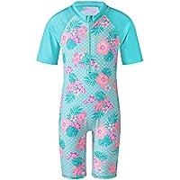 Cyan Flower Baby Girl Swimsuit UV UPF50+ One Piece Kids Girls Swimwear for 3-10 Years Children Swimming Suit 8A