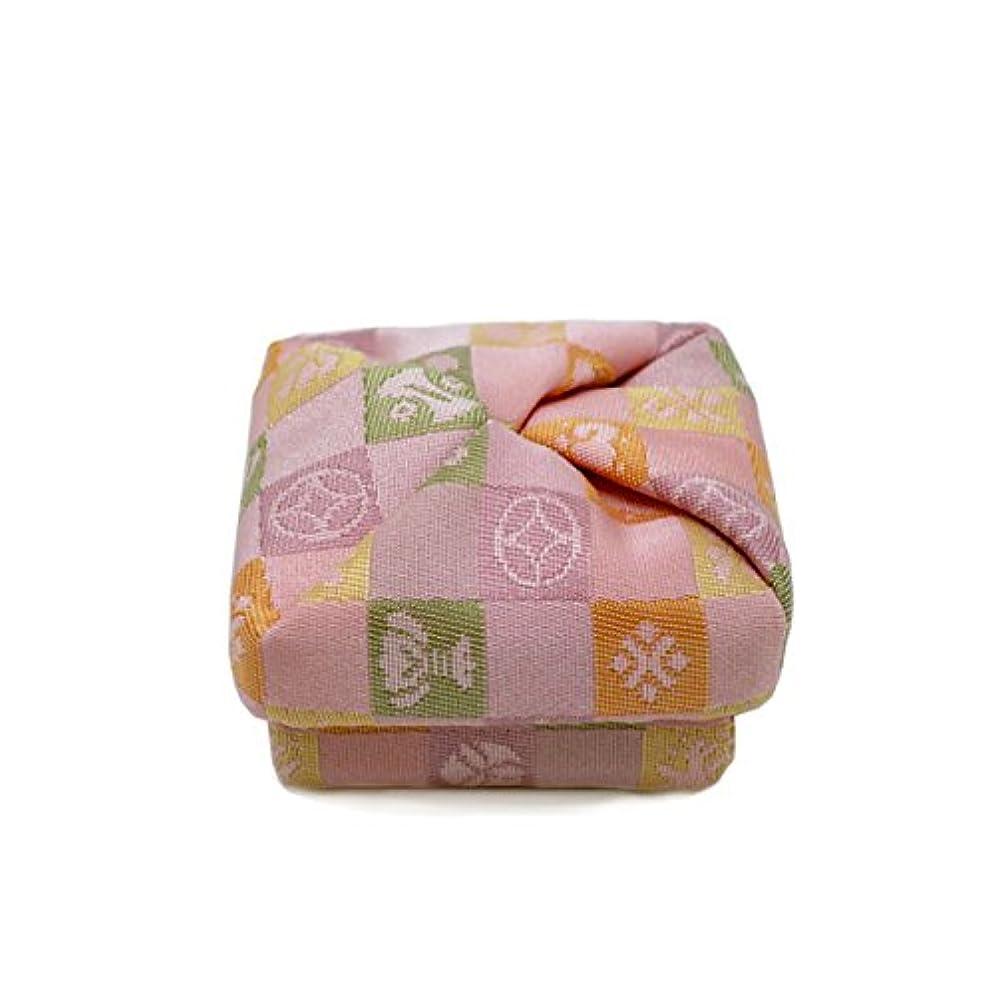 標準ミシン人質布香合‐角‐ 紙箱入 格子宝 桃