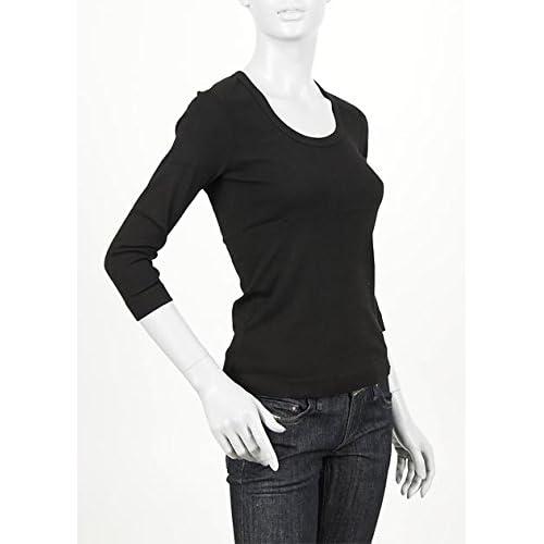(スリードッツ) three dots 七分袖UネックTシャツ Mサイズ Jessica BLACK ブラック [並行輸入品]