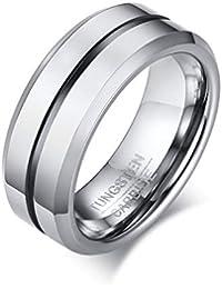 Rockyu アクセサリー タングステン リング メンズ シンプル 指輪 シルバー 平打つ つや消す ヘアライン加工 マッド質感 超硬い