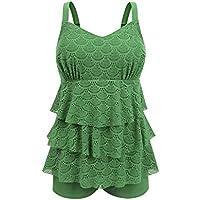 JINXUEER Women's Plus Size Swimsuit Tankini Set Ruffle Swimwear Solid Two Pieces Lace Mesh Bathing Suit